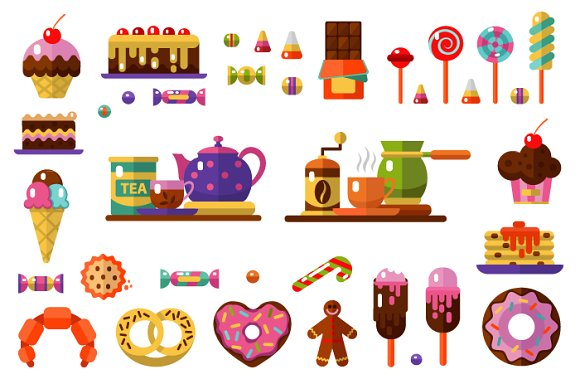 Dessert icons Set. Coffe & Tea Party - Icons