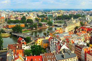 Panoramic view of Wroclaw, Poland