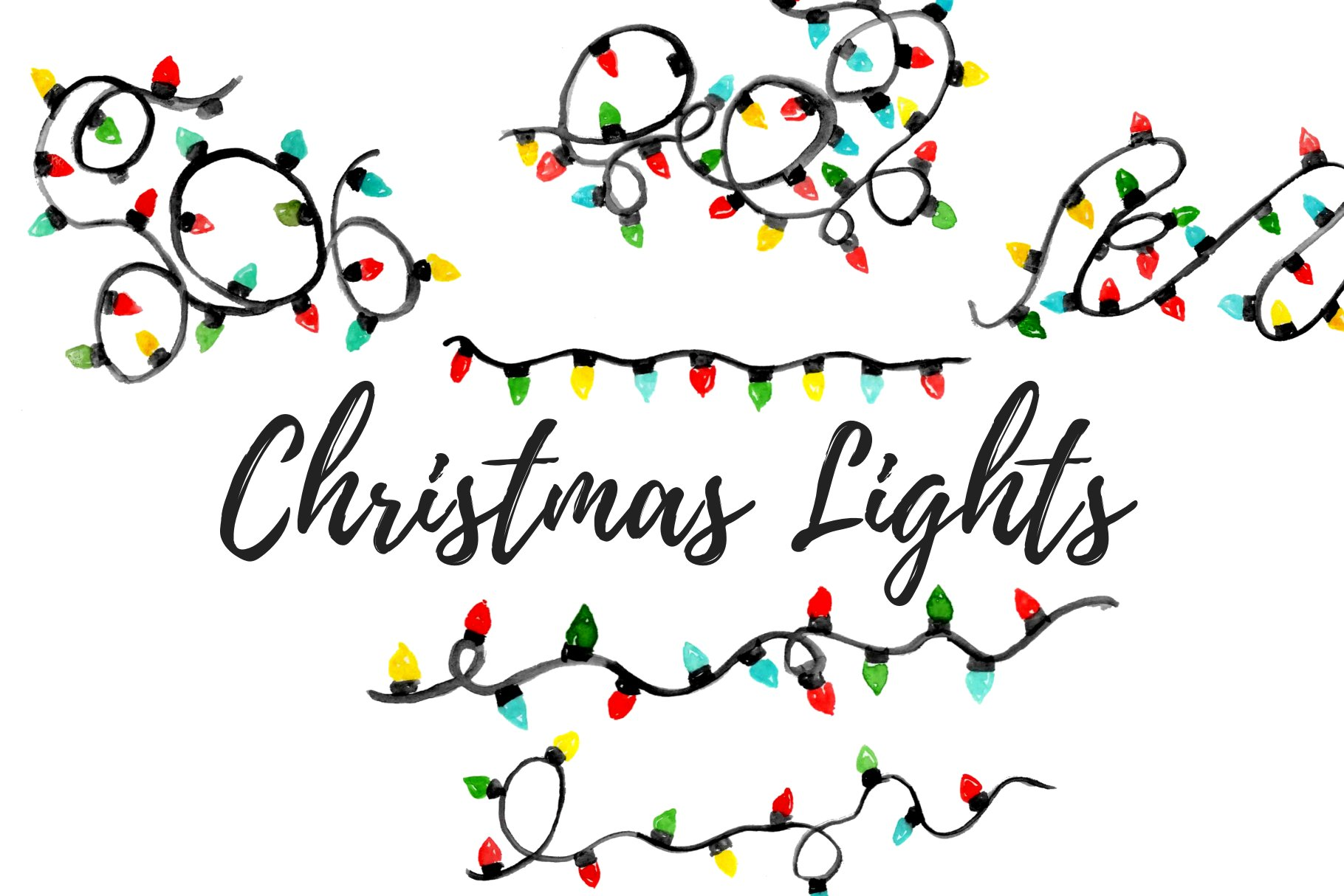watercolor christmas lights clipart pre designed photoshop graphics creative market watercolor christmas lights clipart