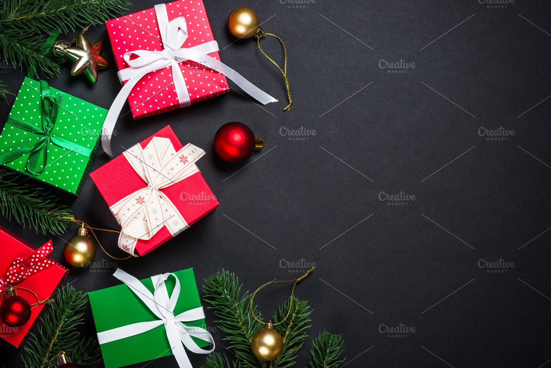 Christmas Ornament Background.Christmas Background With Decoration