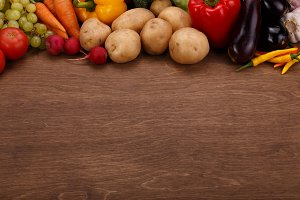 Vegetable on Wooden Background