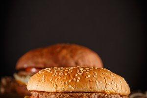 Burger on wood background