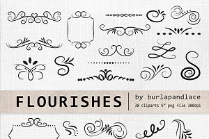 Hand Drawn flourishes clipart