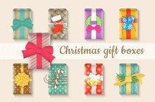 Christmas gift boxes bright set