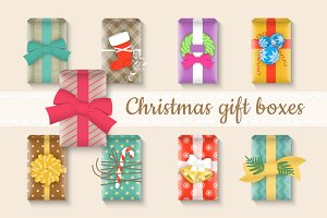 Christmas gift boxes bright set