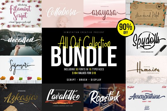 ALL OUT COLLECTION BUNDLE 90% OFF in Display Fonts - product preview 2
