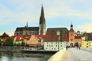 Skyline of Regensburg, Germany