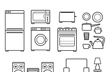 Household appliances outline icons