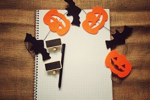 Blank note book&halloween ornamnet