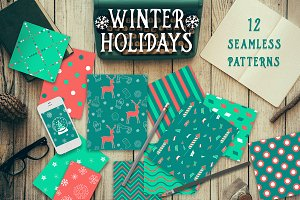 ❆Winter holidays seamless patterns❆