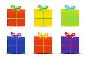 Set of nine different colorful gift