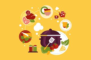 Food preparation vector illustration