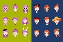 Fashionable girl's head vector set