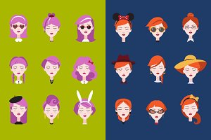 Fashionable girl's head vector set
