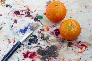 Brush and tangerines