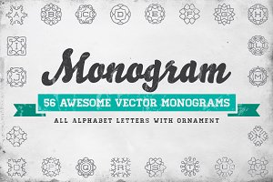 Awesome 56 Monograms in Vector (ABC)