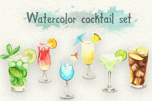 Watercolor cocktail set