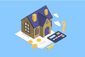 Mortgage with isometric house