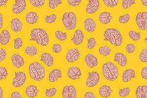 Human brains icons seamless pattern