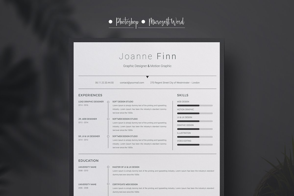 Joanne Finn ResumeCv template in Resume Templates - product preview 1