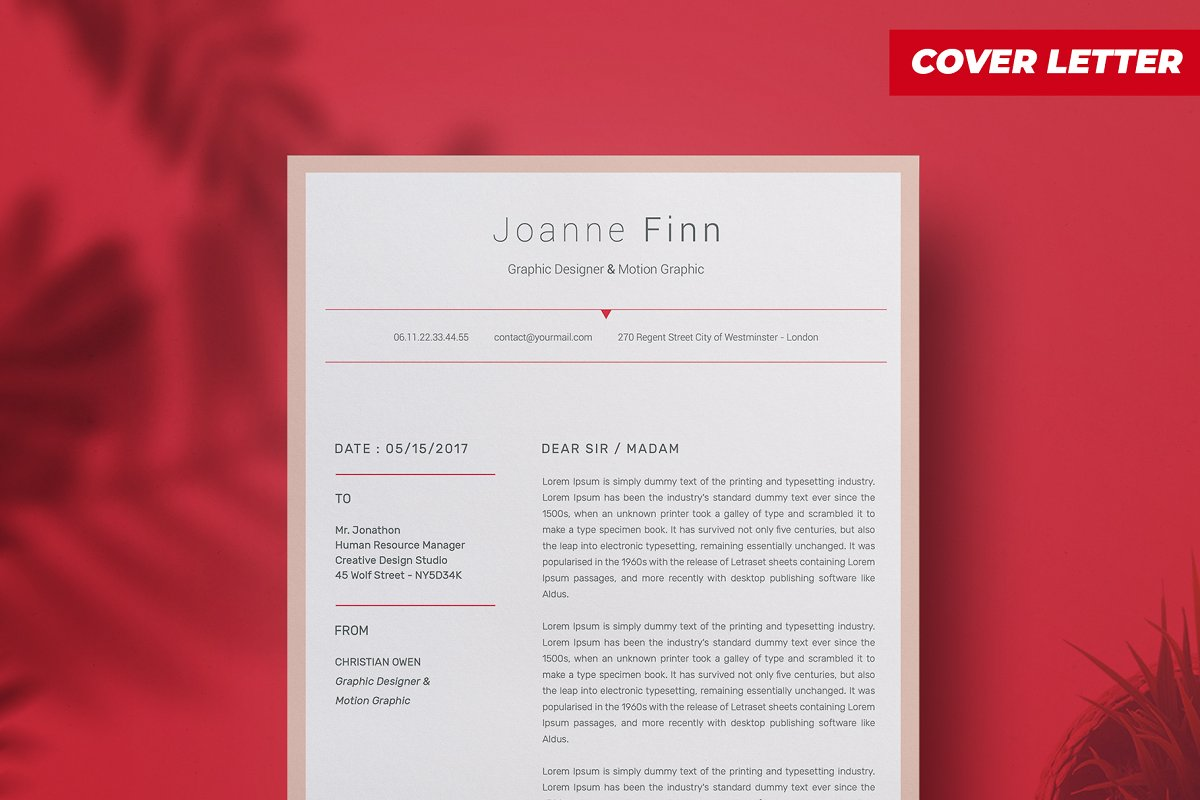Joanne Finn ResumeCv template in Resume Templates - product preview 2