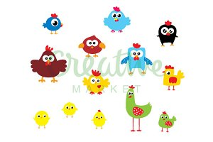 Cute Chicken Vector Collection