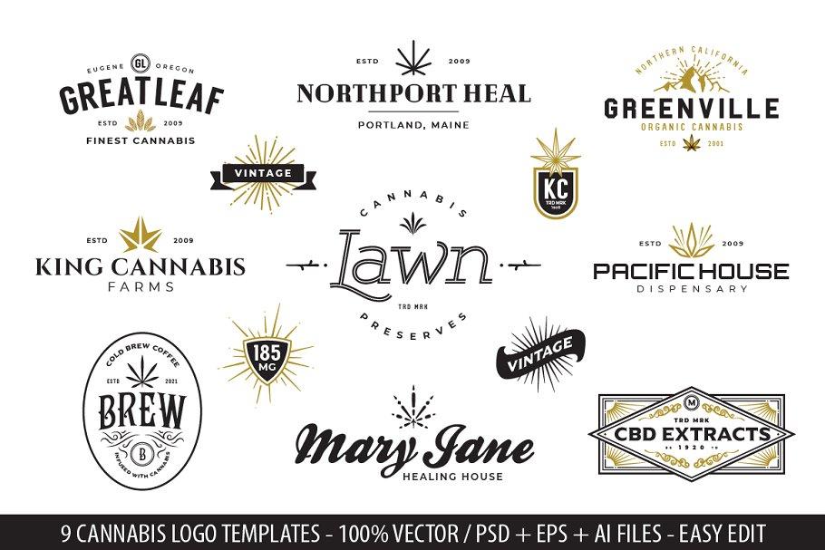 9 Modern Vintage Cannabis Logos VI