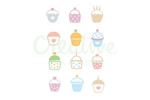 Muffin Pattern Vector