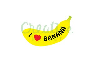 I Love banana Vector