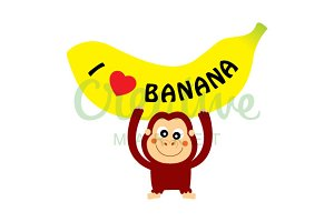 Monkey Loves banana Vector
