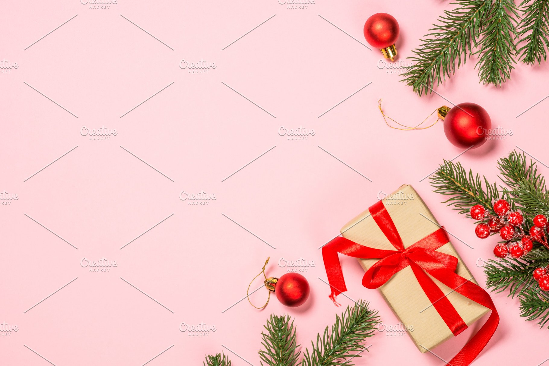 Pink Christmas.Christmas Flat Lay Background On Pin