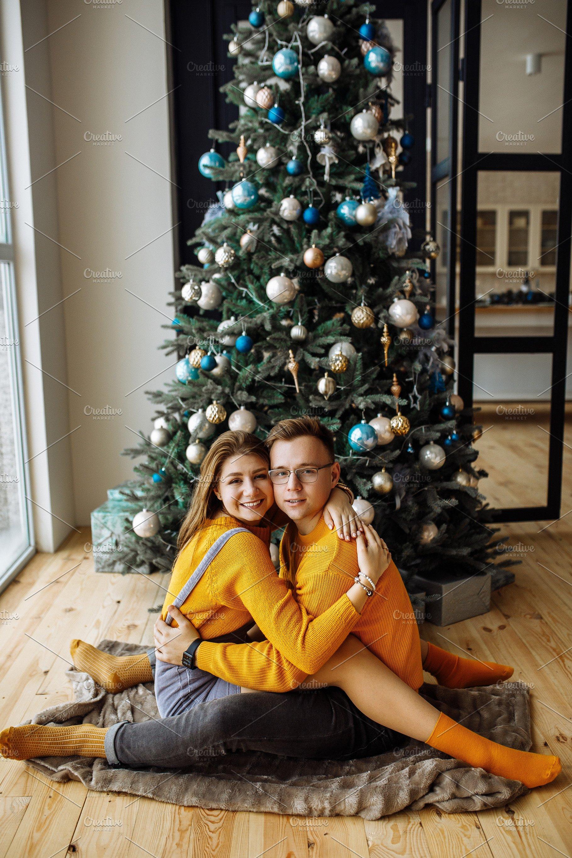 A Christmas.Couple In Love Near A Christmas Tree