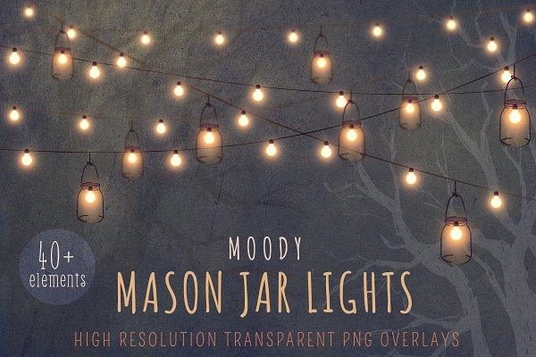 Mason jar string light clipart