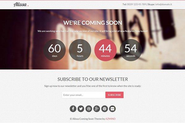 WordPress Landing Page Themes: azmind - Alissa - Coming Soon WordPress Theme