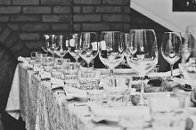 Wedding Table Ready for Guests B&W