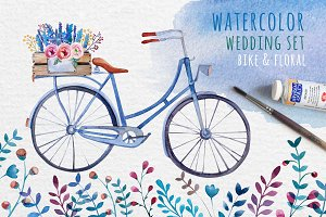 Watercolor bike & flowers