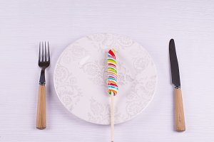 Lollipop  with knife and f