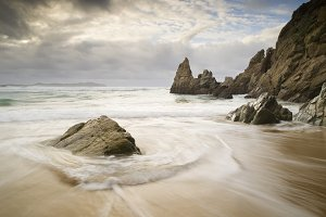 Seascape with rocks in Galicia,