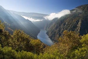 Sil river canyon in Orense, Spain.