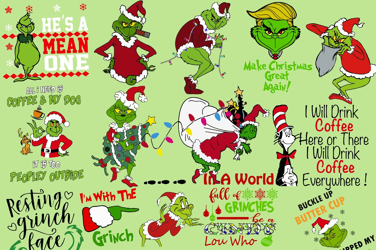 Christmas Grinch Svg.The Grinch For Christmas Bundle Svg Graphics Creative Market