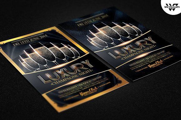 Luxury Champagne Flyer Template Flyer Templates Creative Market