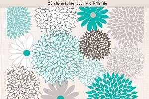 Flowers clipart teal grey