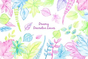 Watercolor Clipart Dreamy Leaves