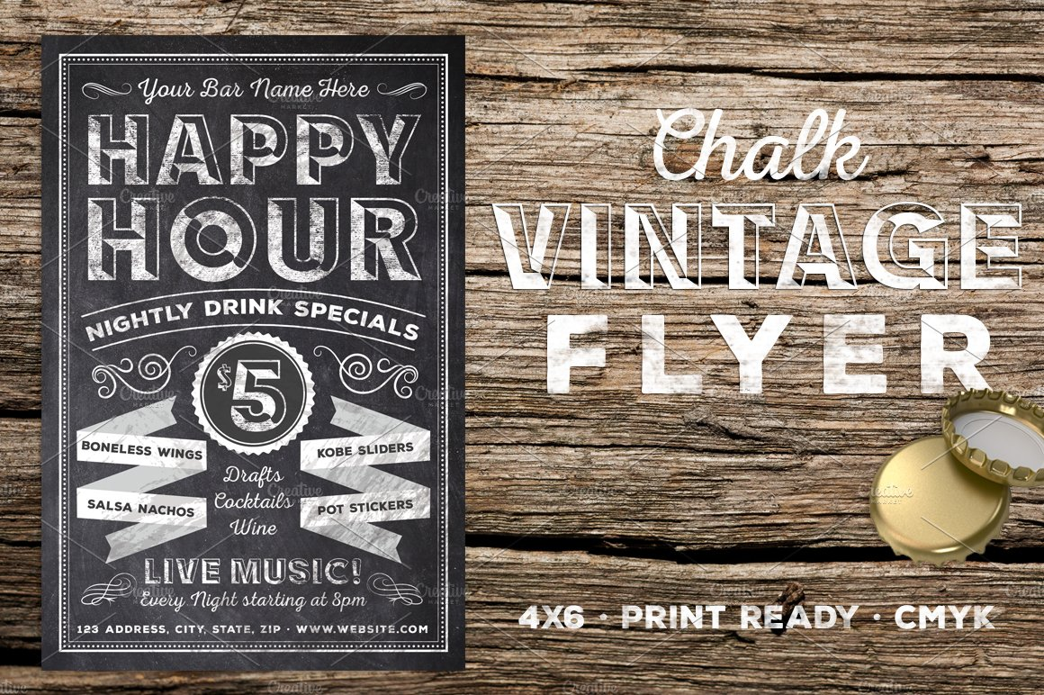 Chalk Vintage Happy Hour Flyer Flyer Templates Creative Market