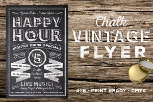 Chalk Vintage Happy Hour Flyer