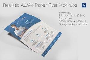 Realistic A3/A4 Paper/Flyer Mockups