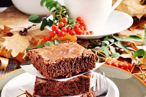 Chocolate brownies, fall decoration