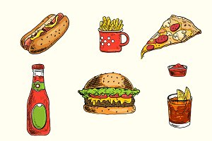 Colored hand drawn fast food