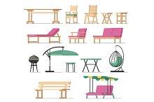 Garden furniture vector table chair