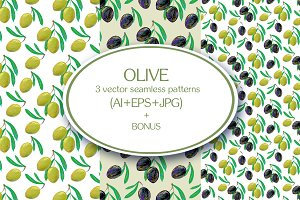 Set of seamless patterns with olives